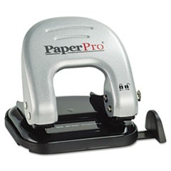 1EZ Squeeze Two-Hole Punch, 20-Sheet Capacity, Black/Silver