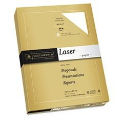 25% Cotton Premium Laser Paper, White 95, 32 lbs., Smooth, 8-1/2 x 11, 300/Pack
