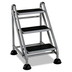 Rolling Commercial Step Stool, 3-Step, 26.6 Spread, Platinum/Black