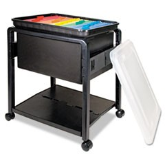 Folding Mobile File Cart, 14.5w x 18.5d x 21.75h, Clear/Black