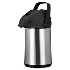 1Direct Brew/Serve Insulated Airpot with Carry Handle, 2200mL, Stainless Steel