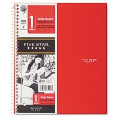 Wirebound Notebook, 1 Subject, Legal Rule, 10 1/2 x 8, 100 Sheets, Red