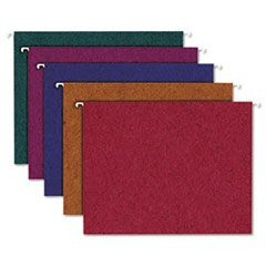 Earthwise Recycled Hanging Folders, 1/5 Tab, Letter, Assorted Colors, 20/Box