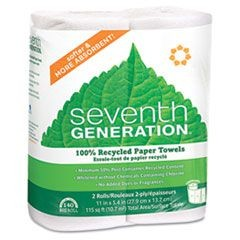 100% Recycled Paper Towel Rolls, 2-Ply, 11 x 5.4 Sheets, 140 Sheets/RL, 2/PK