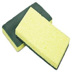 7920015664130, Cellulose Scrubber Sponge, 3 1/4 x 6 1/4, Yellow/Green, 3/Pack