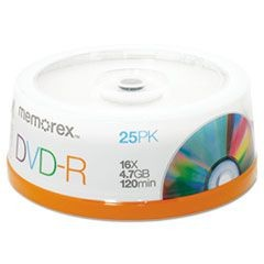 DVD-R Discs, 4.7GB, 16x, Spindle, Silver, 25/Pack