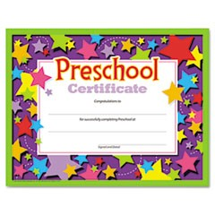 Colorful Classic Certificates, Preschool Certificate, 8 1/2 x 11, 30 per Pack