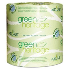 Green Heritage Toilet Tissue, 4 1/2 x 3 4/5 Sheets, 2-Ply, 500/Roll, 96 Rolls/CT