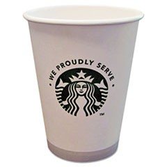 Hot Cups, 12oz, White with Green Logo, 1000/Carton