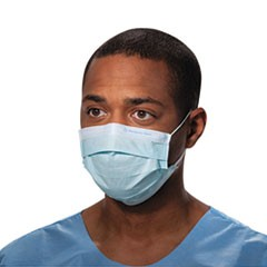 Procedure Mask, Pleat-Style w/Ear Loops, Blue, 50/Box