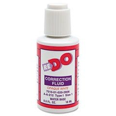 7510010202806, Re-Do Correction Fluid, 1/2oz Bottle, White, Water-Based, 12/Bx