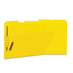 Deluxe Reinforced Top Tab Folders with Two Fasteners, 1/3-Cut Tabs, Letter Size, Yellow, 50/Box