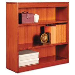 Square Corner Wood Bookcase, Three-Shelf, 35-5/8 x 11-3/4 x 36, Medium Cherry