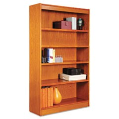 "Square Corner Wood Bookcase, Five-Shelf, 35.63""w x 11.81""d x 60""h, Medium Cherry"