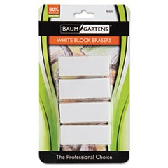 Block Eraser, Latex Free, White, 4/Pack
