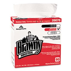 Medium-Duty Premium Wipes, 9 1/4 x 16 3/8, White, 90/Box