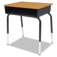 Open Front Student Desk, 24w x 18d, Medium Oak Top, 2/Carton