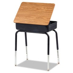 Lift-Lid Student Desk, 24w x 18d x 30h, Medium Oak, 2/Carton