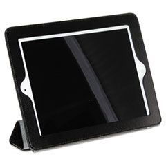 Magnetic Rollback iPad Cover, Pebbled Faux Leather, Black, Gray Interior