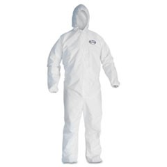 A30 Elastic-Back & Cuff Hooded Coveralls, White, 4X-Large, 25/Carton