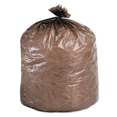 Eco-Degradable Plastic Trash Bag, 20-30gal, .8mil, 30 x 36, Brown, 60/Box