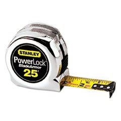 "Powerlock Reinforced Tape Rule, 1"" x 25ft, Plastic Case, Chrome, 1/16"" Grad"