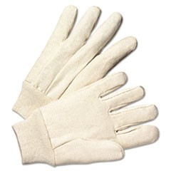 Light-Duty Canvas Gloves, White, 12 Pairs