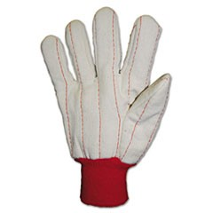 Heavy Canvas Gloves, White/Red, Large, 12 Pairs