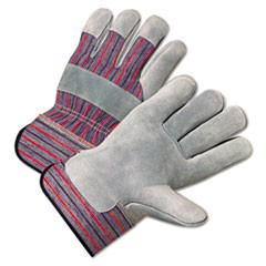2000 Series Leather Palm Gloves, Gray/Red, 12 Pairs