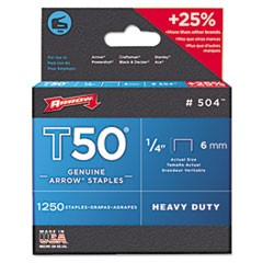 "1T50 Heavy Duty Staples, 0.25"" Leg, 0.38"" Crown, Steel, 1,250/Pack"
