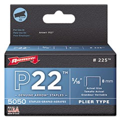 "P22 Type Staples 225, 0.31"" Leg, 0.5"" Crown, Steel, 5,000/Pack"