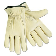 Economy Leather Drivers Gloves, White, Large, 12 Pairs