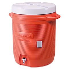 "Insulated Beverage Container, 10gal, 16"" dia x 20 1/2h, Orange/White"