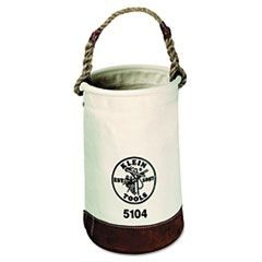 Leather-Bottom Canvas Bucket