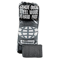 1Industrial-Quality Steel Wool Hand Pad, #0000 Super Fine, 16/Pack, 192/Carton