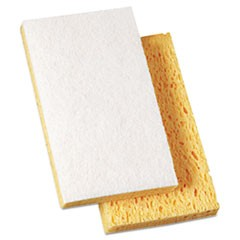 "Scrubbing Sponge, Light Duty, 3 3/5 x 6 1/10, 7/10"" Thick, Yellow/White, 20/Ct"