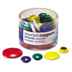 1Assorted Magnets, Circles, Assorted Sizes & Colors, 30/Tub