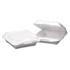 Foam Hinged Carryout Container, 1-Compartment, 9-1/4x9-1/4x3, White, 100/Bag