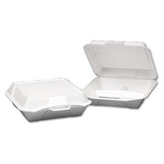 Foam Hinged Container, 3-Compartment, Jumbo, 10-1/4x9-1/4x3-1/4, White, 100/Bag