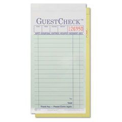 Two-Part Carbon GuestCheck Pad, 3 1/2 x 6 3/4, 50 Sets/Book, 50 Books/Carton