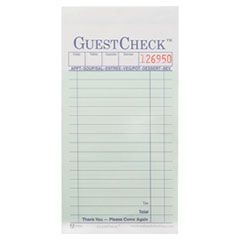 Two-Part Carbonless GuestCheck Pad, 3 1/2 x 6 3/4, 50 Sets/Book, 50 Books/Carton