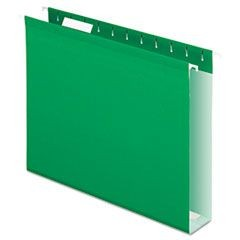 "Reinforced 2"" Extra Capacity Hanging Folders, Letter, Bright Green, 25/Box"
