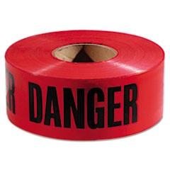 "Danger Barricade Tape, ""Danger"" Text, 3"" x 1000ft, Red/Black"