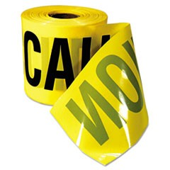 "Caution Barricade Tape, ""Caution Cuidado"" Text, 3""x200ft, Yellow w/Black Print"