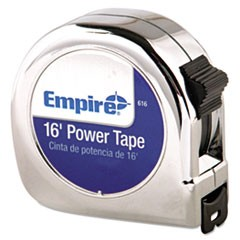 "Power Tape Measure, 3/4"" x 16ft, Metal Case, Chrome, 1/16"" Graduation"