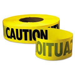 "Caution Barricade Tape, 3"" x 1000ft, Yellow/Black"