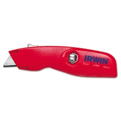 Self-Retracting Safety Knife, 1 Retractable Blade, Red/Silver