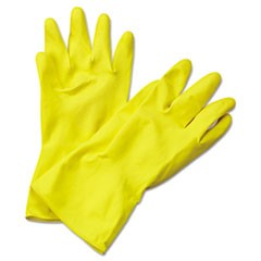 Flock-Lined Latex Cleaning Gloves, Extra-Large, Yellow, 12 Pairs