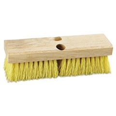 10 IN DECK BRUSH, WOOD BLOCK, YELLOW BRISTLE