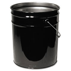 Open Head Steel Pail, 5gal, Black, Unlined